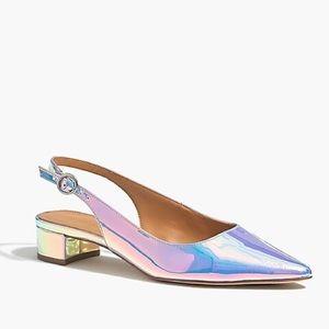 J Crew hologram flat sling back shoes